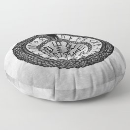 Vegvisir with Ouroboros and runes - grayscale Floor Pillow
