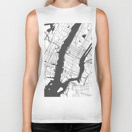 New York City White on Gray Street Map Biker Tank