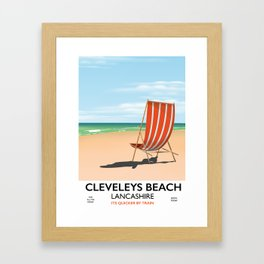 Cleveleys Beach, lancashire vintage travel poster Framed Art Print