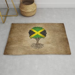 Vintage Tree of Life with Flag of Jamaica Rug