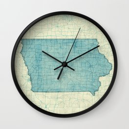 Iowa State Map Blue Vintage Wall Clock