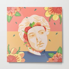 Abstract greek head with flower patterns Metal Print