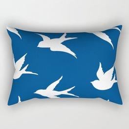 blue and white birds Rectangular Pillow