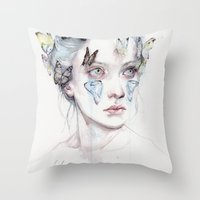 agnes Throw Pillows featuring love and sacrifice by agnes-cecile