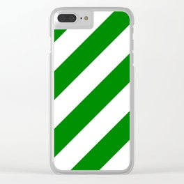 Green diagonal striped pattern Clear iPhone Case
