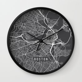 Boston Map, Massachusetts USA - Charcoal Portrait Wall Clock