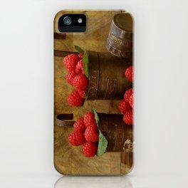 Raspberries in vintage measuring caps iPhone Case