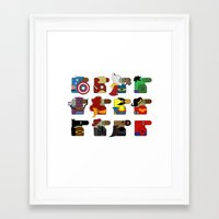 super heroes Framed Art Prints featuring Super Heroes by nobleplatypus