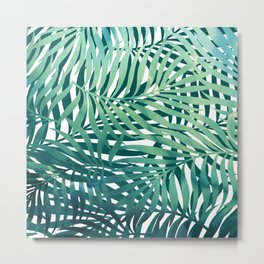 Abstract Watercolor, Palm Tree, Blue, Teal and Green Prints Metal Print