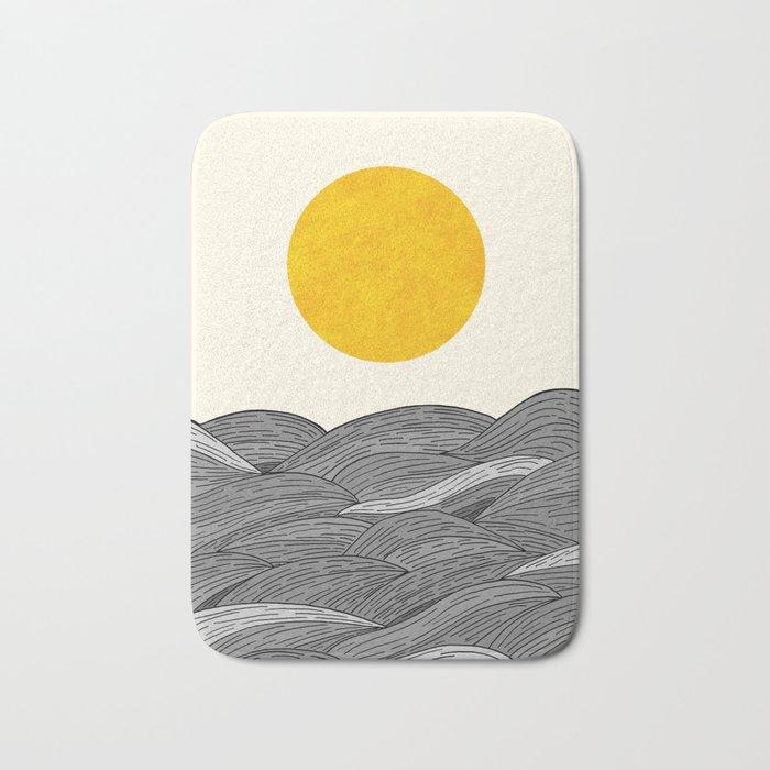 The Grey Waves Bath Mat