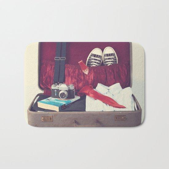 Vintage Journey Suitcase (His) (Retro and Vintage Still Life Photography) Bath Mat