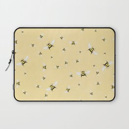 Whimsical Bee Illustration // Bees on Yellow Background Laptop Sleeve