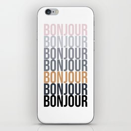 Bonjour in Bold Typography and Fall Colors iPhone Skin