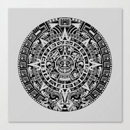 Mayan Calendar // Light Grey Canvas Print