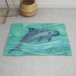 Vaquita Porpoise Swimming in Emerald Waters Rug