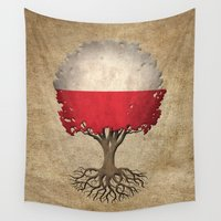 poland Wall Tapestries featuring Vintage Tree of Life with Flag of Poland by Jeff Bartels