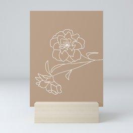Delicate Floral (Brown and White) Mini Art Print