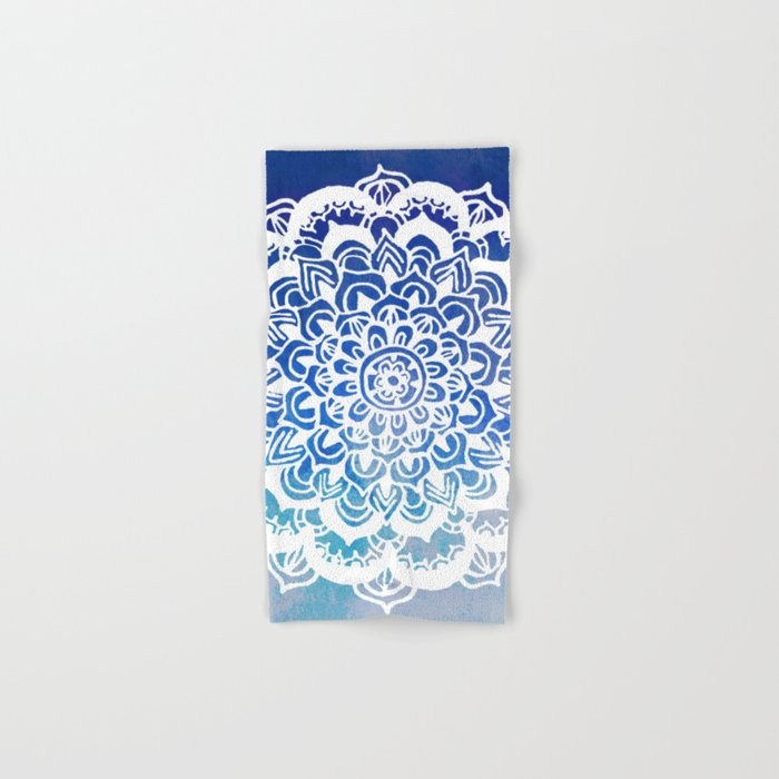 White Floral Medallion on Indigo & Turquoise Watercolor Hand & Bath Towel