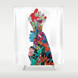 Quilted Floral Fist Shower Curtain