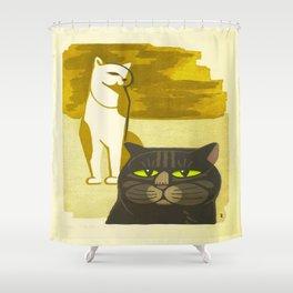 Japanese, Cat, Cubism, Woodblock Print, Cherry Blossom, Midcentury, Modern Shower Curtain