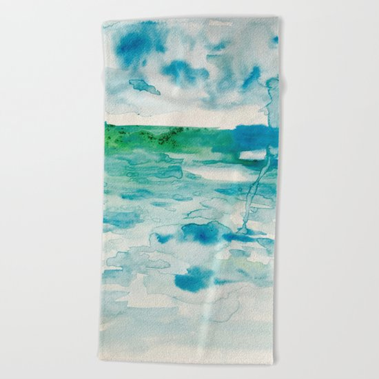 Miami Beach Watercolor #2 Beach Towel