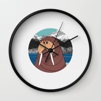 walrus Wall Clocks featuring Walrus by Diana Hope
