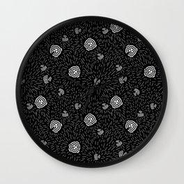 Black and white minimal linocut abstract pattern graphic scandi design Wall Clock