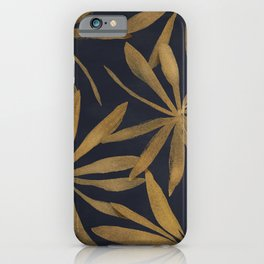 Colorful Mystical Watercolor Floral Plant Pattern Gold Leaves Black Background iPhone Case