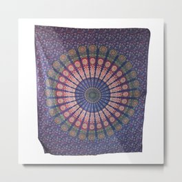 Mandala Art Peacock Wall Tapestry Metal Print