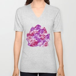 marguerites and chrysanthemums in purple mood Unisex V-Neck