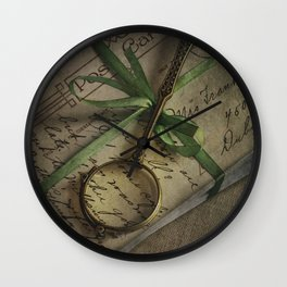 Old style loupe and vintage letters Wall Clock
