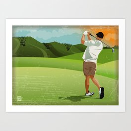 Mountain Golfer Art Print