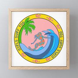 Girls Surf Too,solid color Framed Mini Art Print