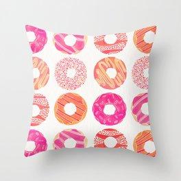 Half Dozen Donuts – Pink & Peach Ombré Throw Pillow
