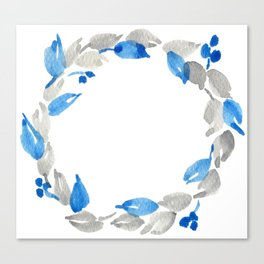 Blue and Gray Watercolor Leaf Wreath Canvas Print