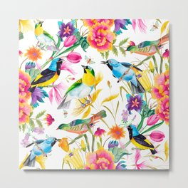 Birds Colourful Floral Motif Pattern Tropical decor Spring Flowers Metal Print