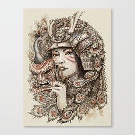 Peacock Samurai Canvas Print