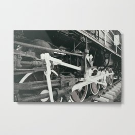Retro steam locomotive wheels and rods. Details of mechanical parts. Metal Print