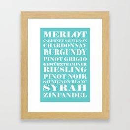 Wines, blue Framed Art Print