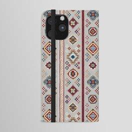 Caucasian Rugs(Stripe) - White iPhone Wallet Case