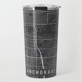 Anchorage Map, Alaska USA - Charcoal Portrait Travel Mug