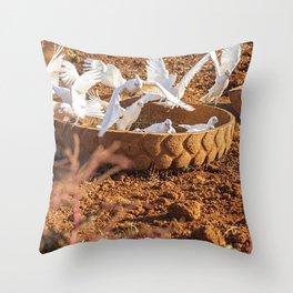 Flock of corella birds. Throw Pillow