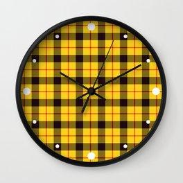 As If, Yellow Plaid Tartan Wall Clock