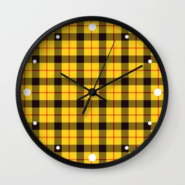 Yellow Plaid Tartan Wall Clock