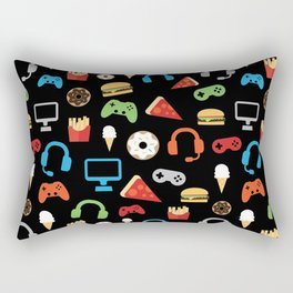 Video Game Party Snack Pattern Rectangular Pillow