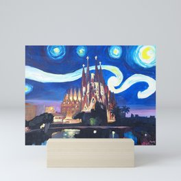 Starry Night in Barcelona - Van Gogh Inspirations with Sagrada Familia Mini Art Print