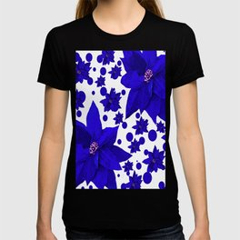 Poinsettia Blue Indigo Pattern T-shirt
