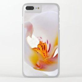 Orchid white macro 055 Clear iPhone Case