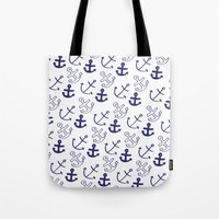 anchors Tote Bags featuring Anchors by Sarah Liddell
