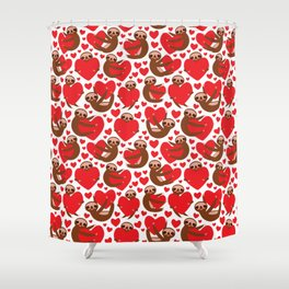 pattern Three-toed sloth holding red heart, on white background. Valentine's Day Card. Funny Kawaii Shower Curtain
